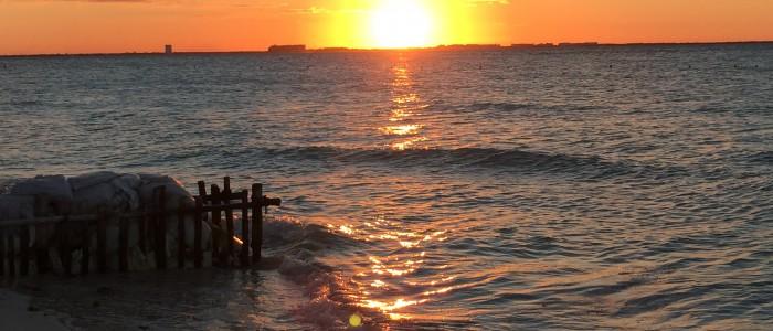 sunset Caribbean beach Mexico