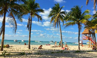 Caribbean beach on Yucatan island Isla Mujeres