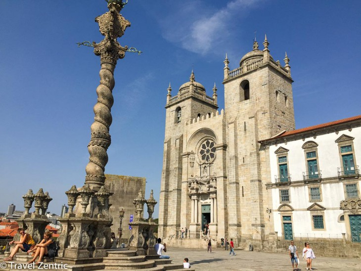 cathedral Porto, blue sky, main place praca, Se do Porto