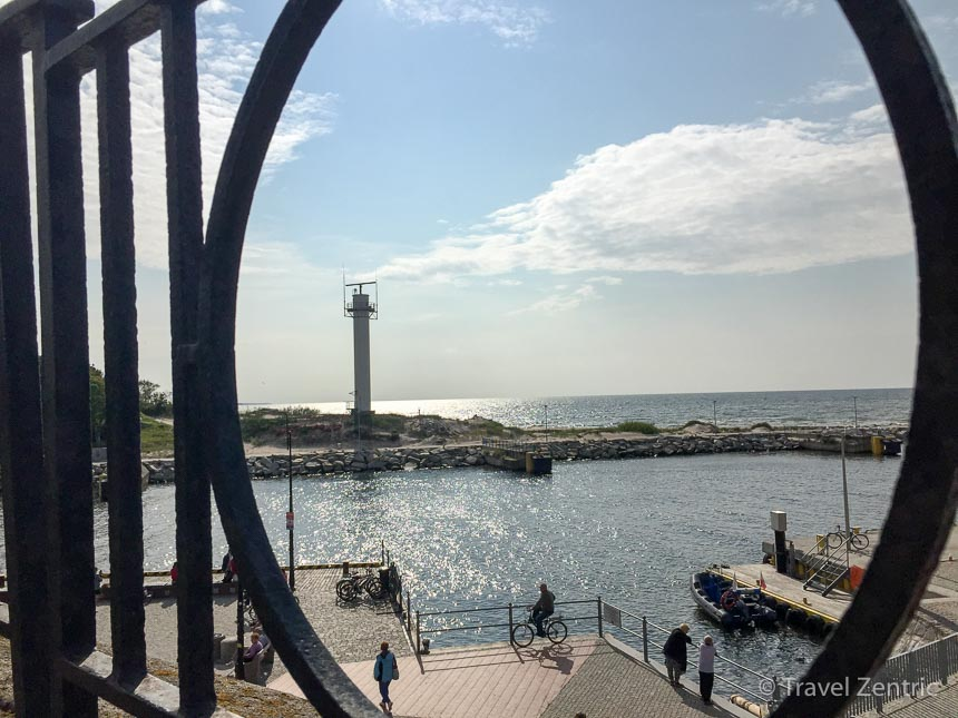View lighthouse port Kolobrzeg Poland seaside resort