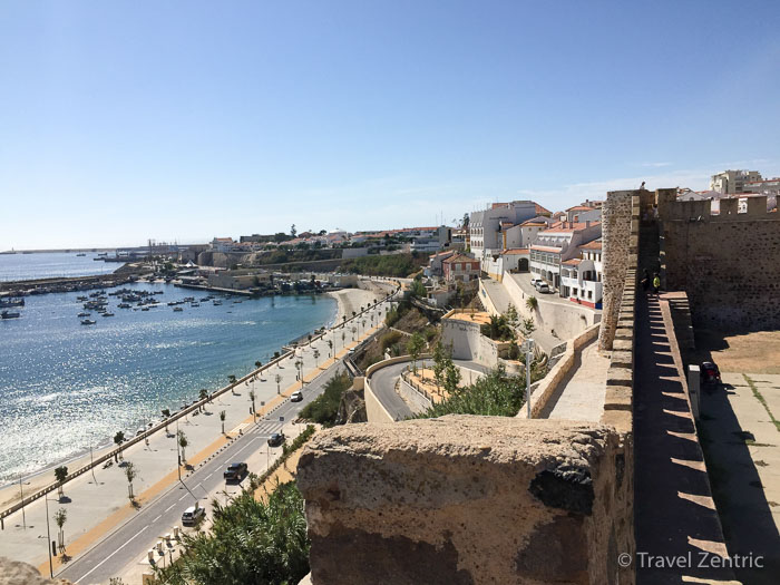 port, city and fort view, Sines