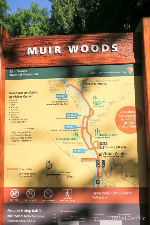 muir woods, map, usa