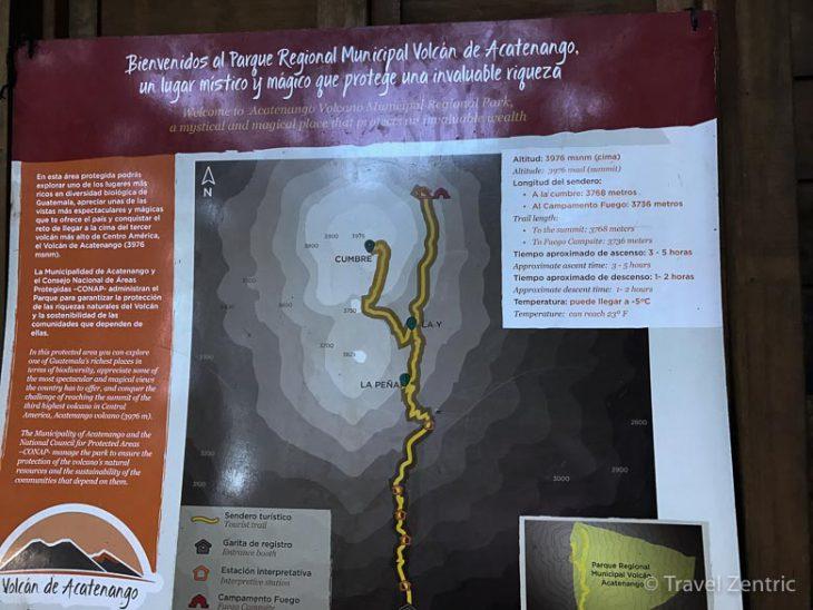 volcano acatenango map guatemala
